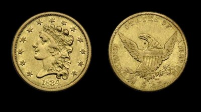 $2½, 1834 Breen-6140. No Motto