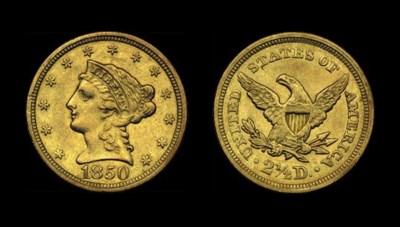 $2½, 1850 AU-50 (PCGS).    An