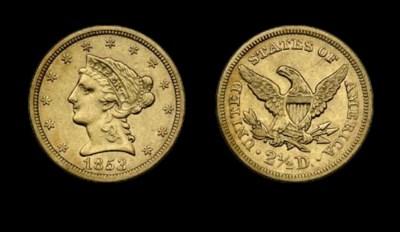 $2½, 1853 AU-50 (PCGS).    Lig