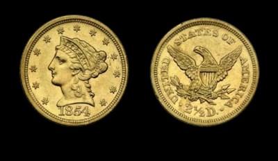 $2½, 1854 AU-55 (PCGS).    Lus