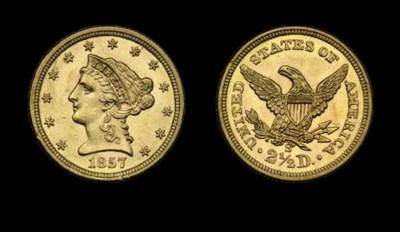 $2½, 1857-S MS-62 (PCGS).    S