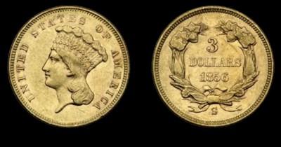 $3, 1856-S AU-55 (PCGS).     N