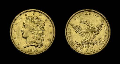 $5, 1834 Breen-6502. Classic H
