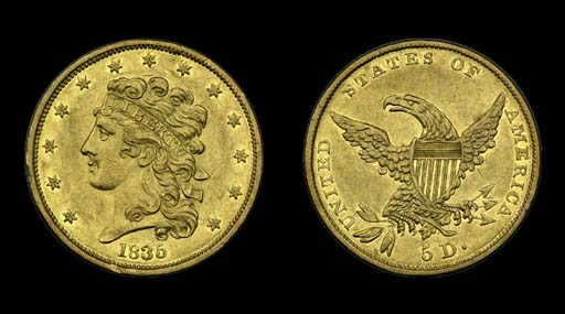 $5, 1835 Breen-6504. AU-50 (PC
