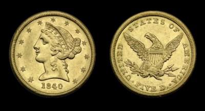 $5, 1840 AU-55 (PCGS).    Lust