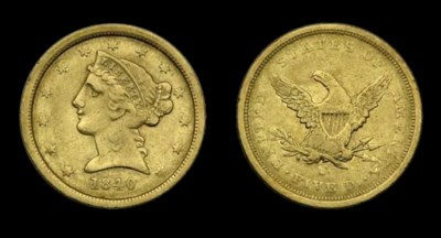 $5, 1840-C VF-35 (PCGS).    Pa