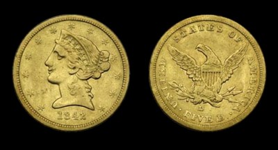 $5, 1842-D Small Date. VF-30 (