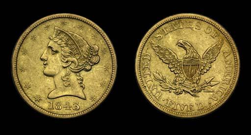 $5, 1843 EF-45 (PCGS).    A pl
