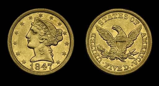 $5, 1847 AU-50 (PCGS).    This