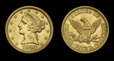 $5, 1848 AU-55 (PCGS).    Shar