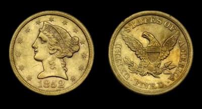 $5, 1852 AU-53 (PCGS).    Shar