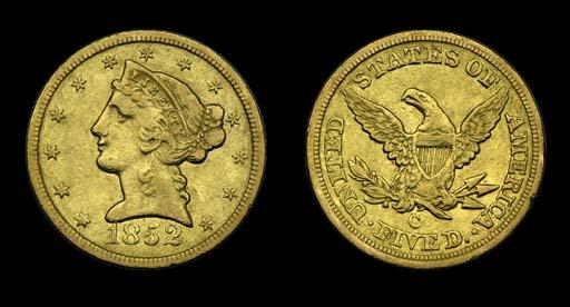 $5, 1852-C VF-35 (PCGS).    A