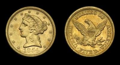 $5, 1854 AU-55 (PCGS).    Shar