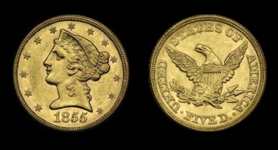 $5, 1855 AU-58 (PCGS).    Fros