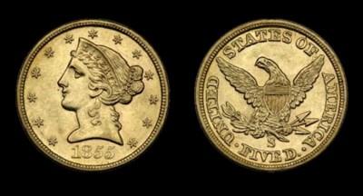 $5, 1855-S AU-55 (PCGS).    Hi