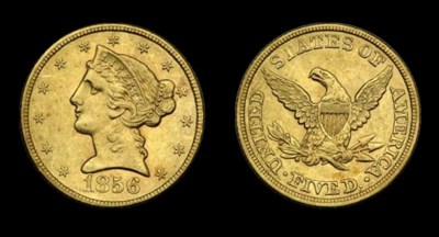 $5, 1856 AU-53 (PCGS).    Love