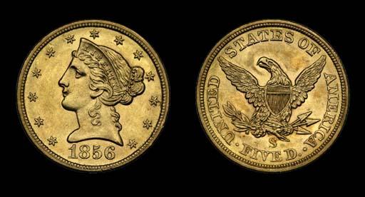 $5, 1856-S AU-58 (PCGS).    Hi