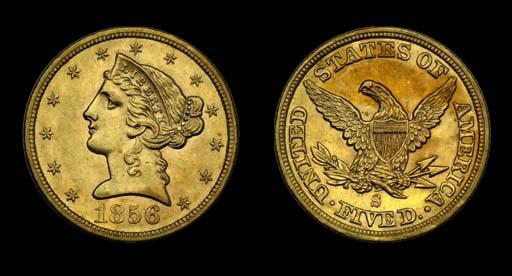 $5, 1856-S AU-58 (PCGS).    Lo