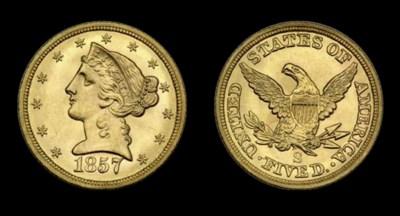 $5, 1857-S MS-64 (PCGS).    Hi