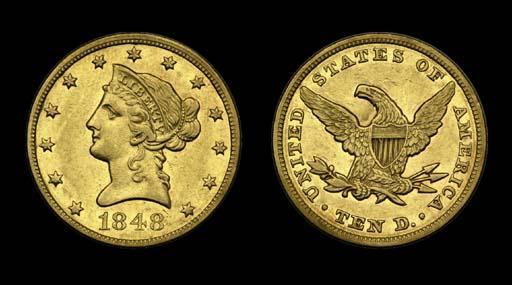 $10, 1848 AU-50 (PCGS).    Bri