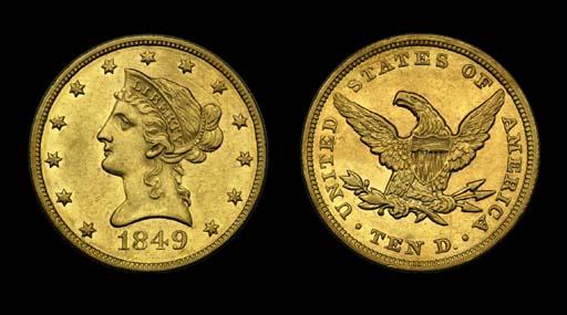 $10, 1849 AU-55 (PCGS).    Bri