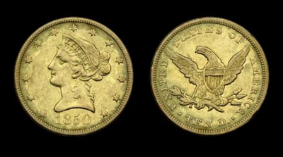 $10, 1850 Large Date. EF-40 (P