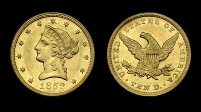 $10, 1852 AU-55 (PCGS).    Lus