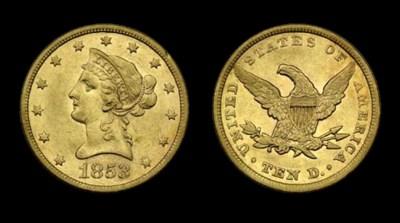 $10, 1853 EF-45 (PCGS).    Ric