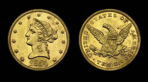 $10, 1854 AU-58 (PCGS).    Med