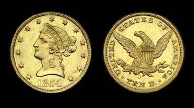 $10, 1854-O Small Date. AU-58