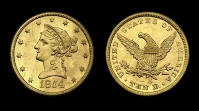 $10, 1854-S AU-58 (PCGS). Medi