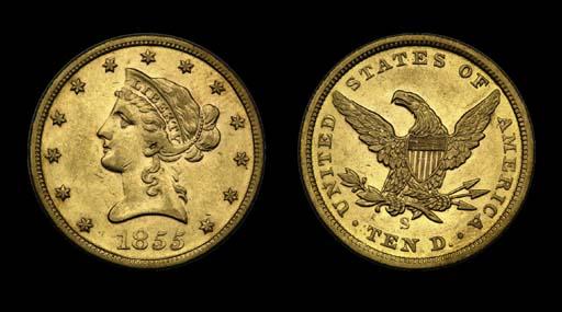 $10, 1855-S AU-53 (PCGS).    P