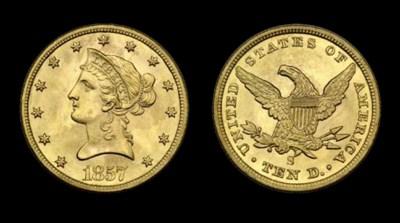 $10, 1857-S MS-64 (PCGS).    G