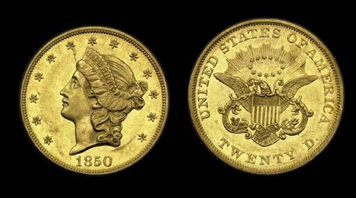 $20, 1850 AU-55 (PCGS).    Lus