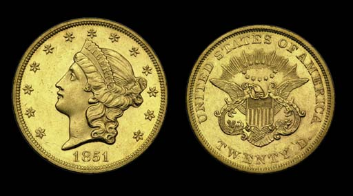 $20, 1851 MS-60 (PCGS).    Lus