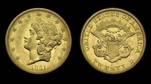 $20, 1851-O AU-50 (PCGS). Lust