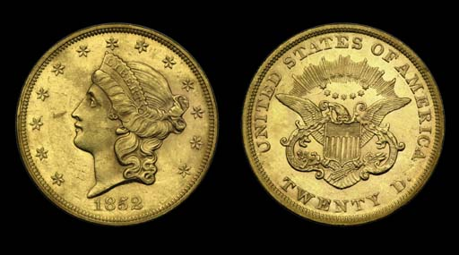 $20, 1852 AU-58 (PCGS). Rich a