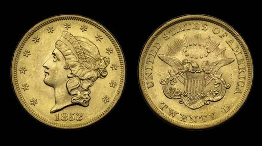 $20, 1853 AU-58 (PCGS).    Bri