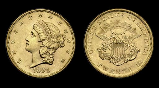 $20, 1854 Small Date. MS-62 (P