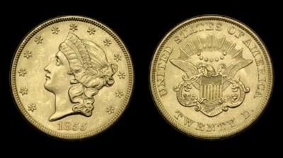 $20, 1855 MS-62 (PCGS).    Int