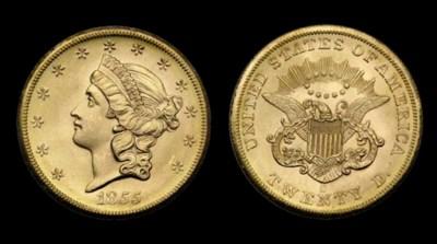 $20, 1855-S MS-66 (PCGS).    V