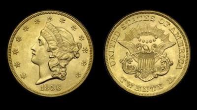 $20, 1856 AU-58 (PCGS).    Lus