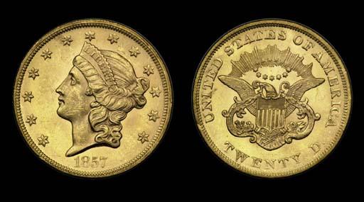$20, 1857 MS-61 (PCGS).    Lus