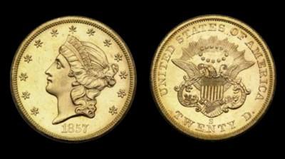 $20, 1857-S MS-64 PL (PCGS).