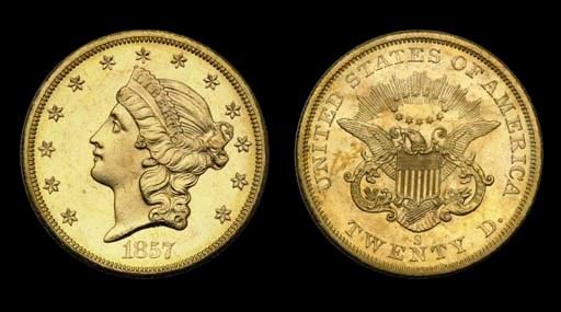 $20, 1857-S MS-65 PL (PCGS).