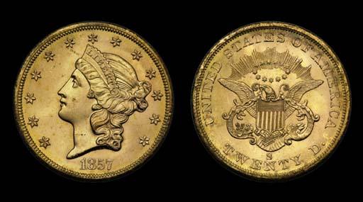 $20, 1857-S MS-65 (PCGS).    V