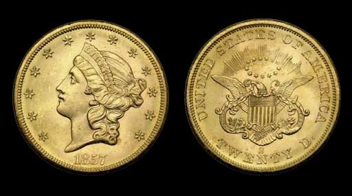 $20, 1857-S MS-64 (PCGS).    V