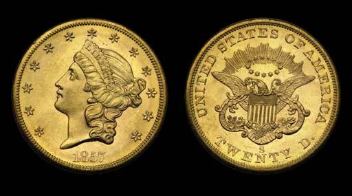 $20, 1857-S MS-63 (PCGS).    V