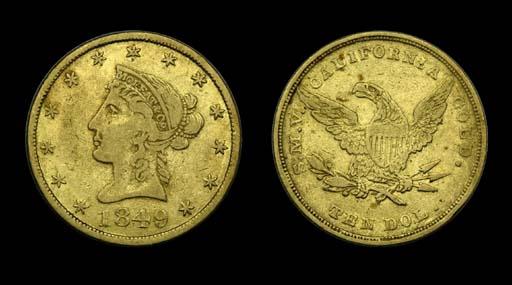 1849 Moffat & Co. $10 gold. Ka