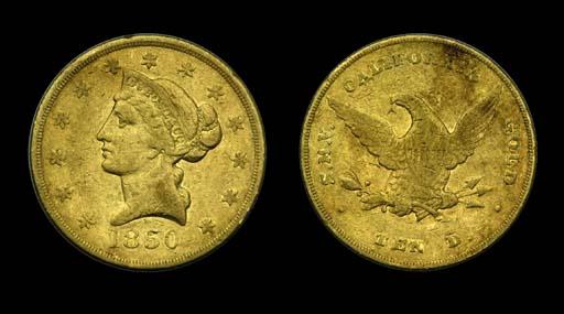 1850 Dubosq $10 gold. K-2, B-7
